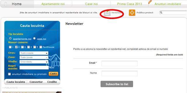 newsletter portal anunturi imobiliare