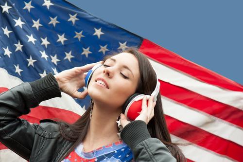student girl american flag