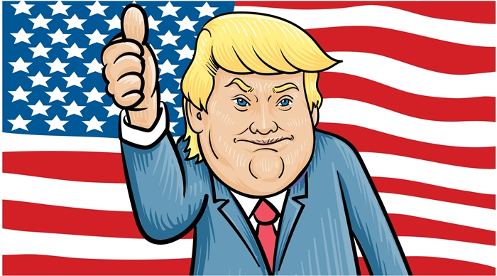 donald trump cartoon us flag